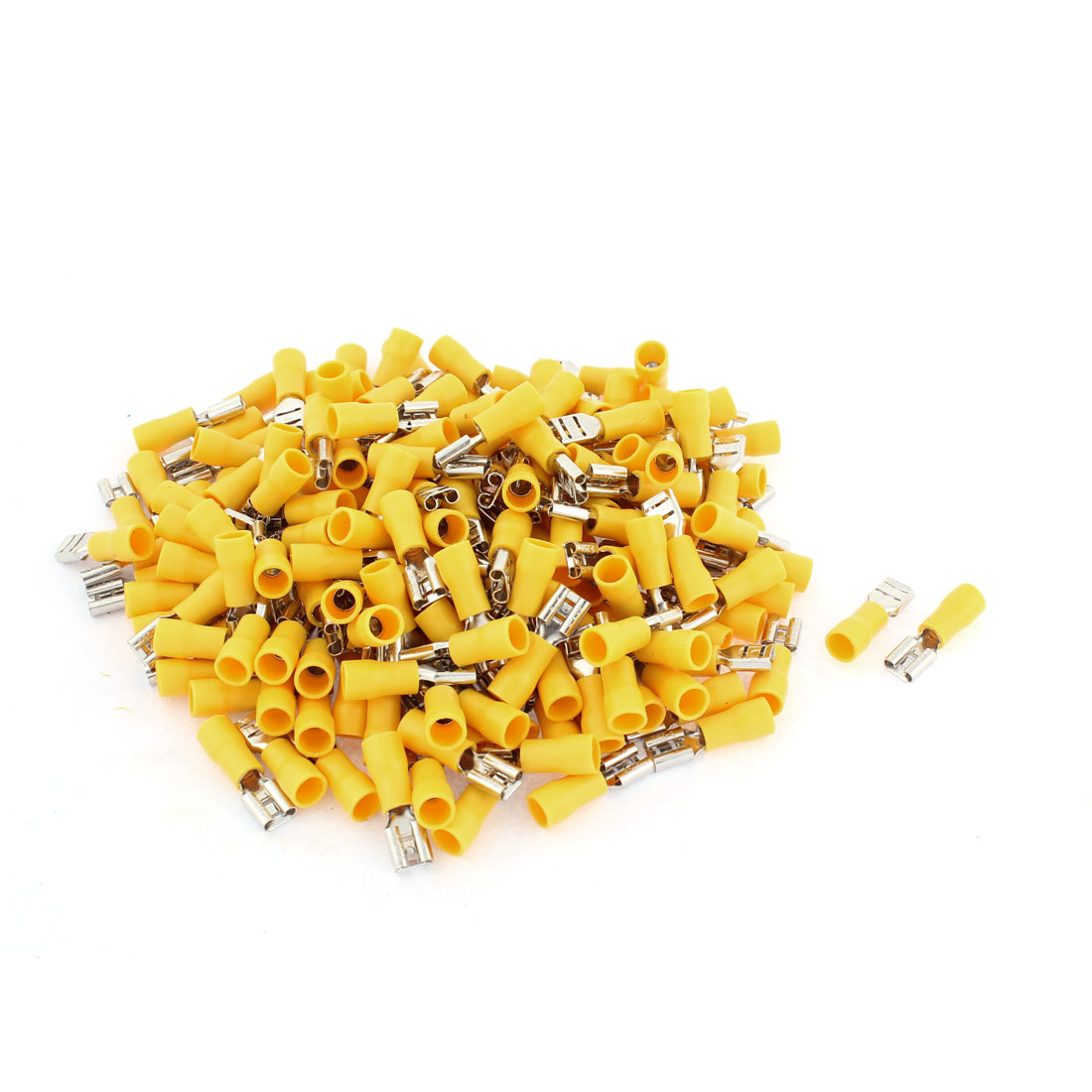 187Pcs FDD5.5-250 4-6mm2 Wire Yellow PVC Sleeve Female Insulated Terminal