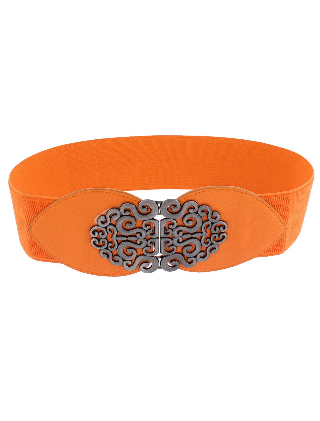 Wide Stretchy Elastic Corset Waist Belt Waistband Orange