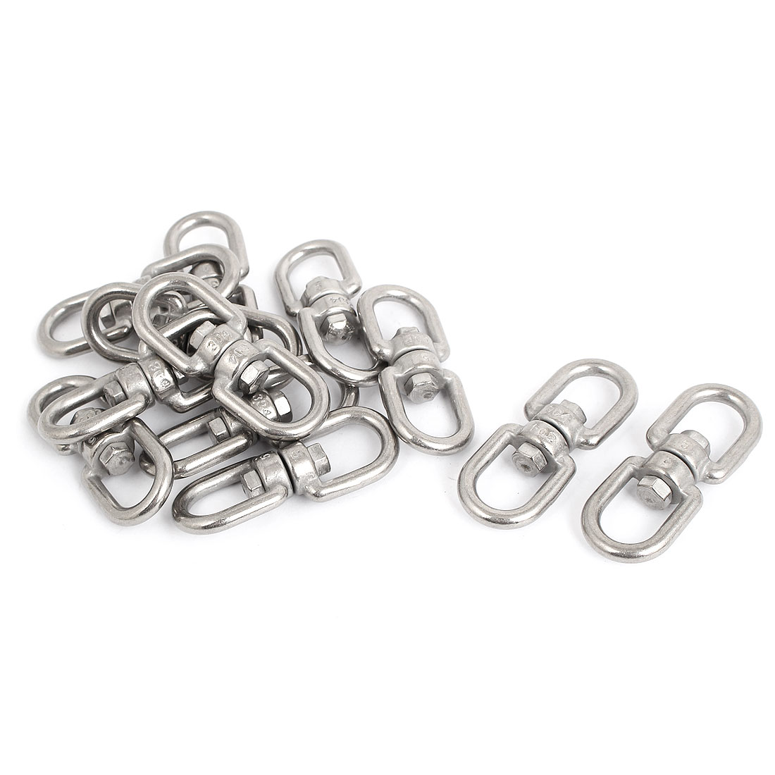 5mm Thickness 304 Stainless Steel Double End Eye Swivel Hook Shackle 12 Pcs