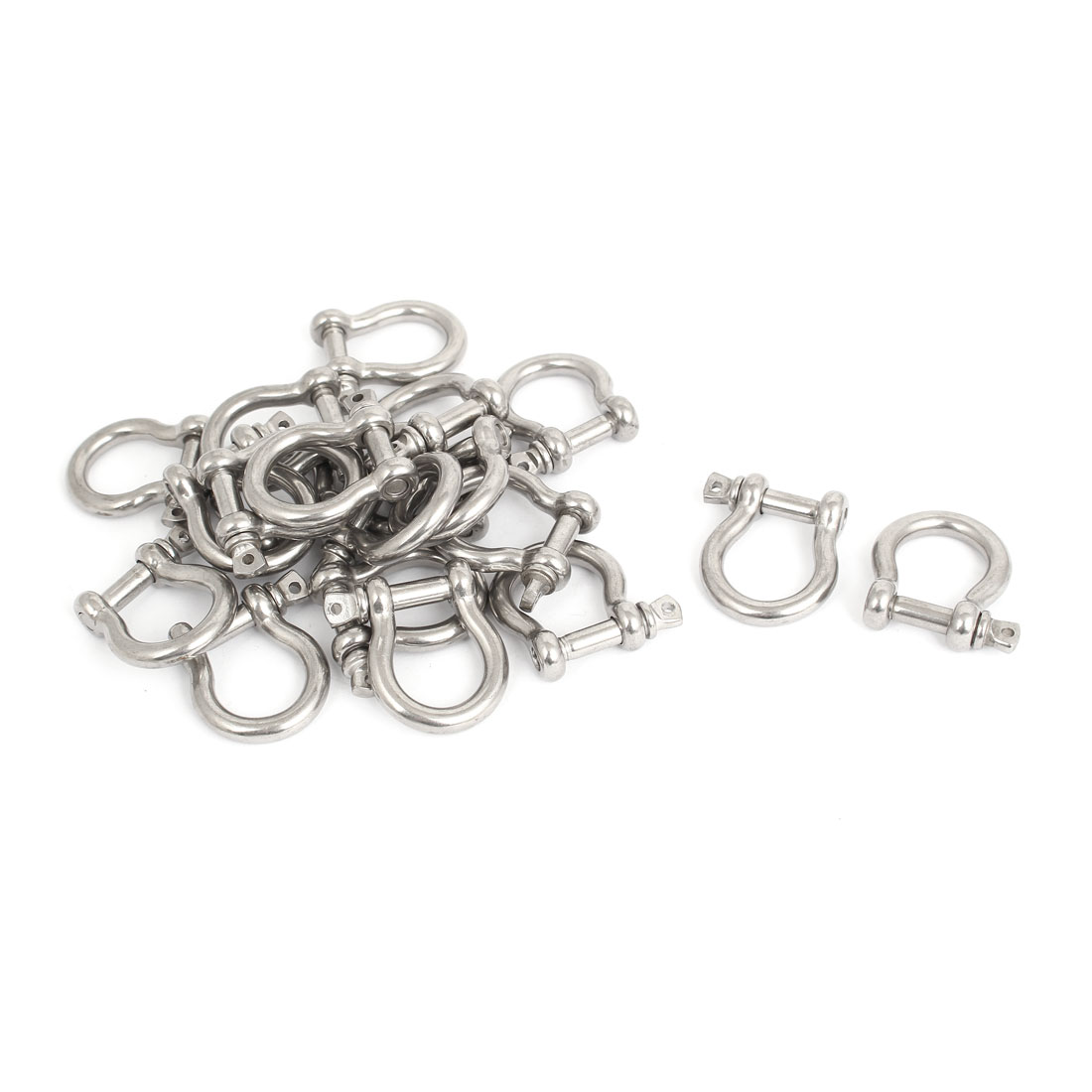 M6 Stainless Steel D Ring Bow Shackle U Lock Wire Rope Fastener Silver Tone 20 Pcs