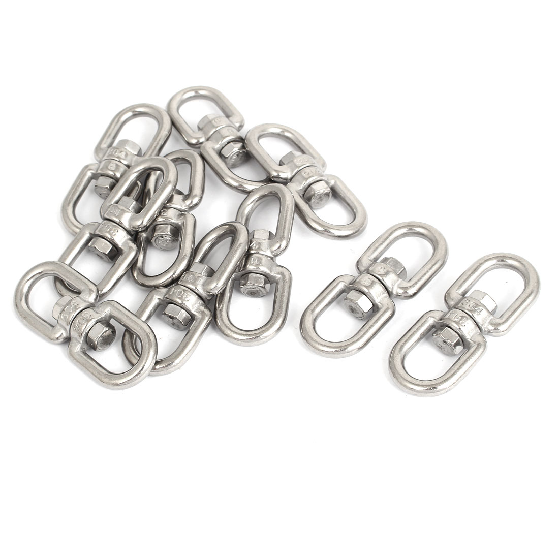 6mm Thickness 304 Stainless Steel Double D Shape Eye Swivel Hook Shackle 10 Pcs