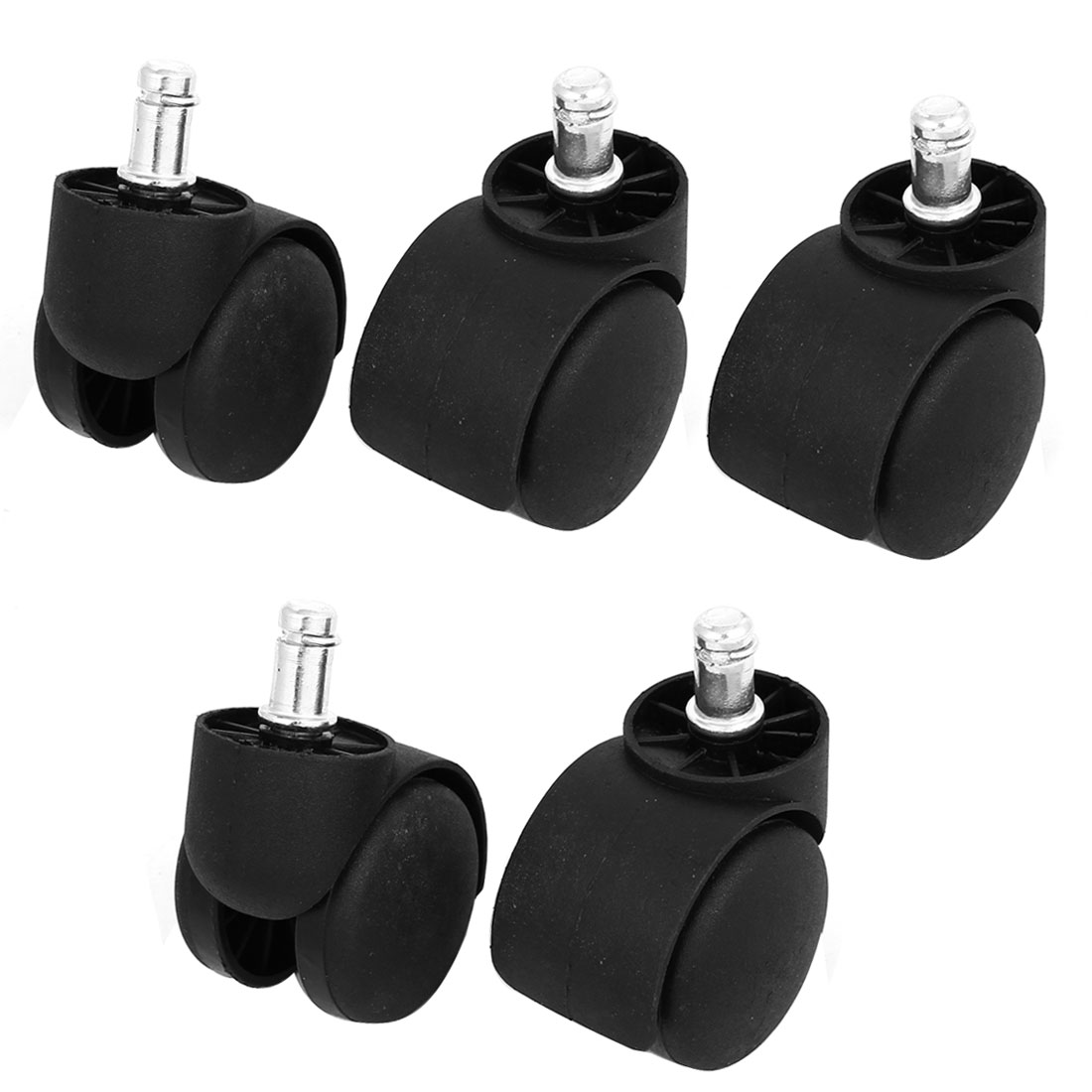 11mm x 22mm Grip Ring Stem Office Chair Swivel Twin Wheel Caster Replacement 5 Pcs