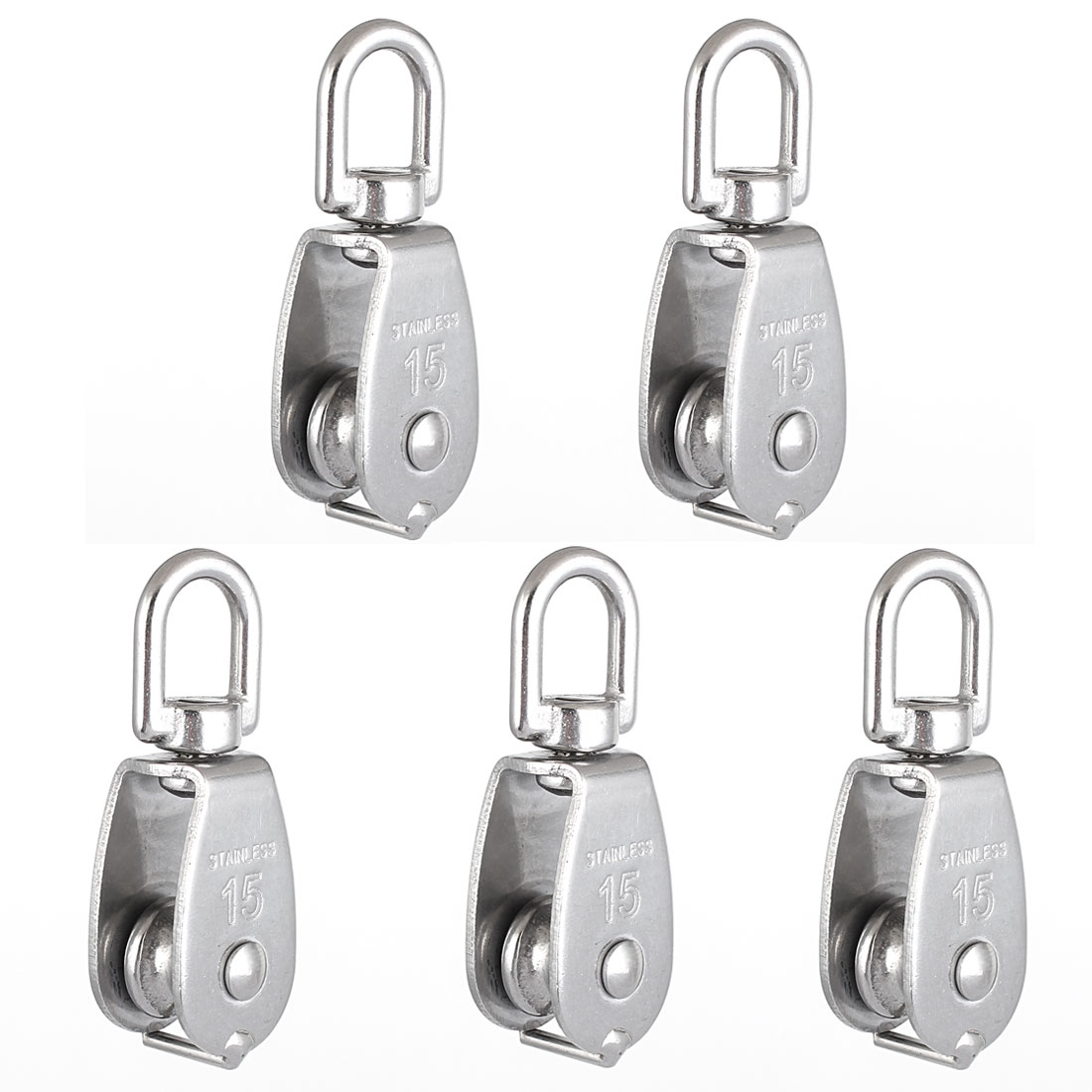M15 15mm Swivel 304 Stainless Steel Wire Rope Single Sheaved Pulley Block 5 Pcs