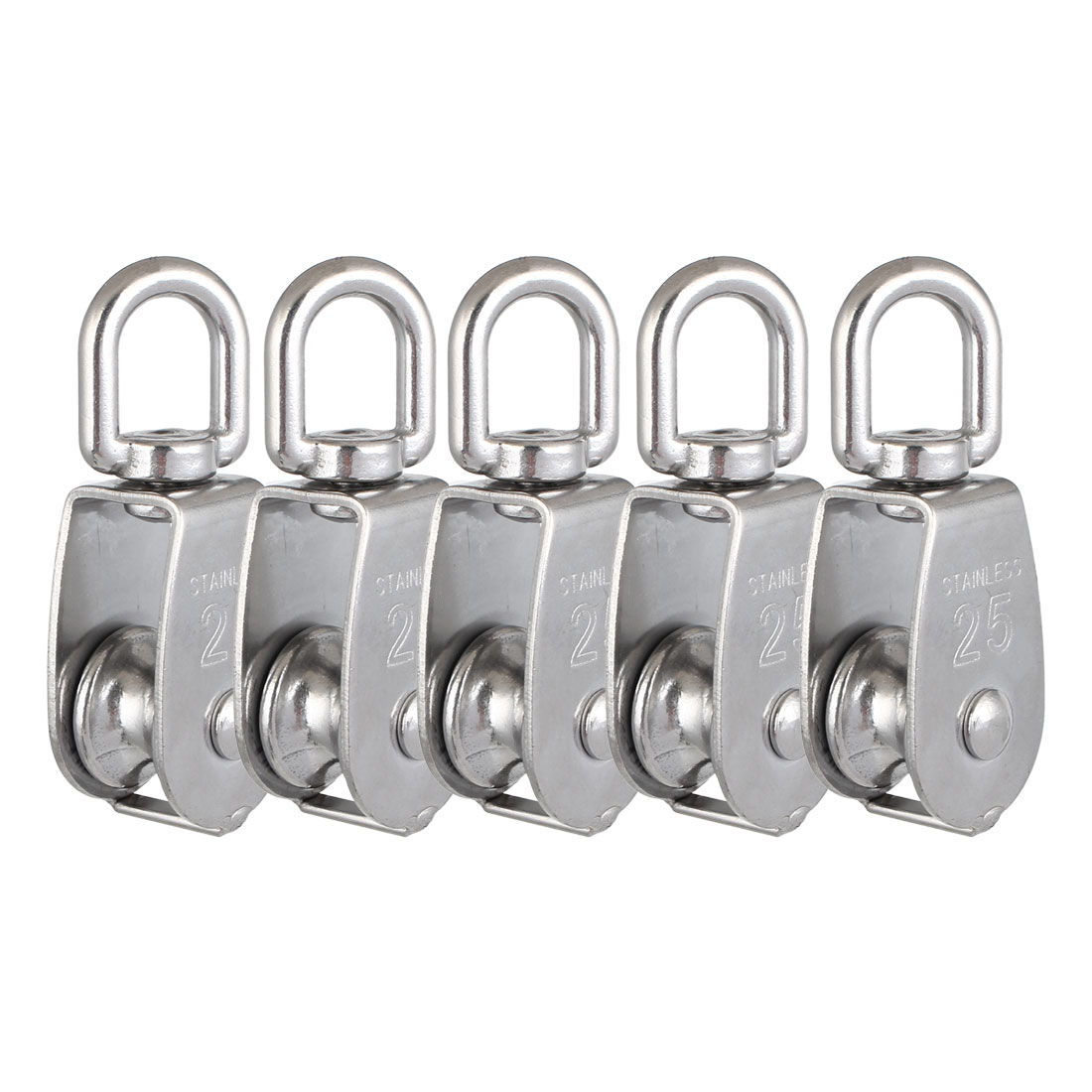 M25 304 Stainless Steel Single Wheel Swivel Snatch Pulley Block 5 Pcs