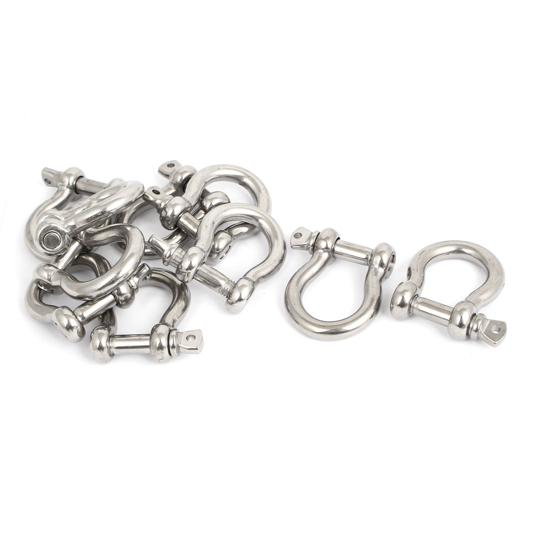 M10 Stainless Steel D Type Bow Rigging Shackle U Lock Survival Chain Buckle 10 Pcs