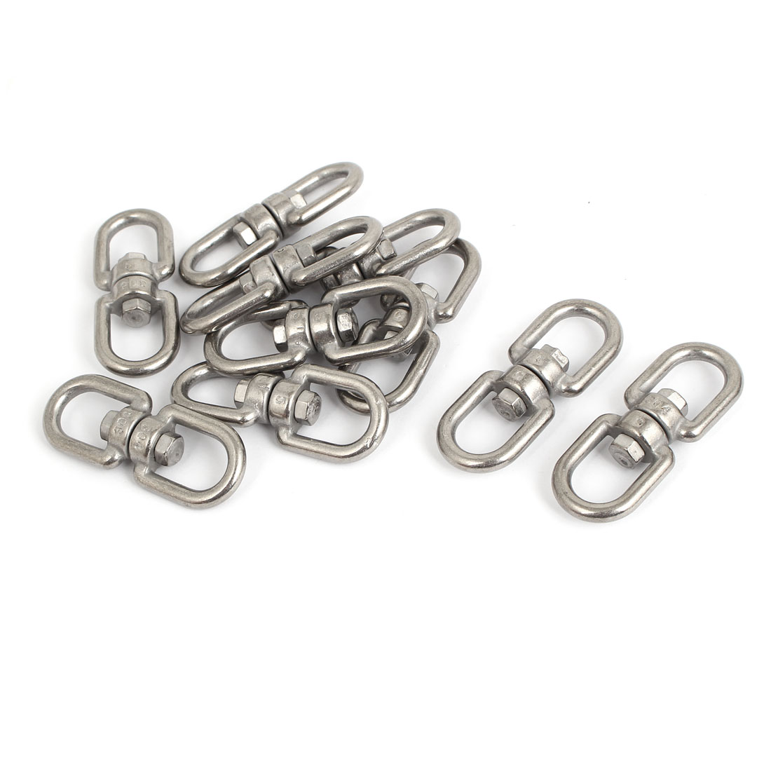 5mm Thickness 304 Stainless Steel Double D Shape Eye to Eye Swivel Connectors 10 Pcs