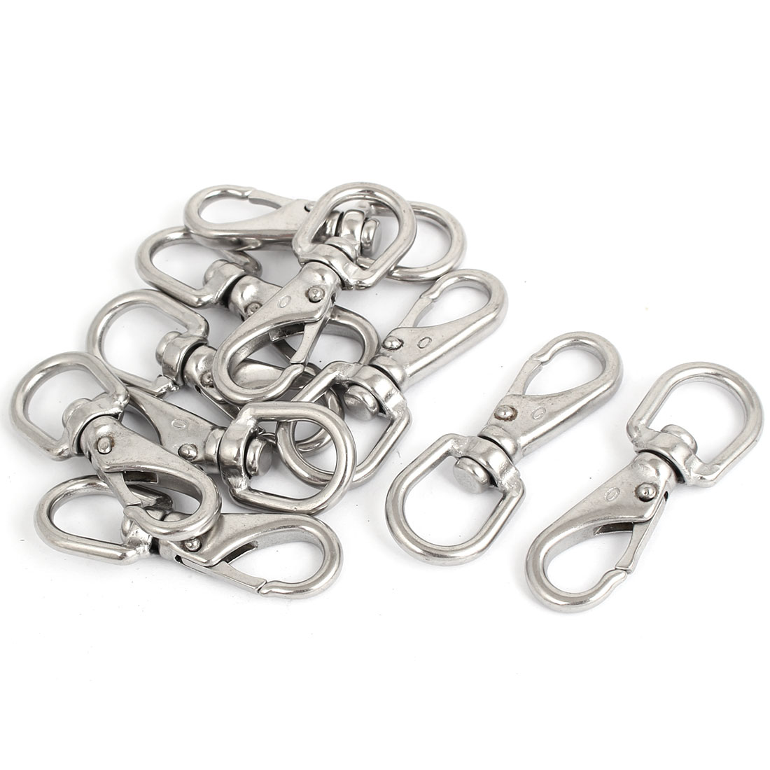 4mm Thickness Stainless Steel Swivel Eye Lobster Snap Clasp Hook 10 Pcs