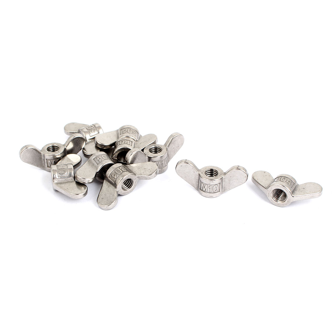 M10 304 Stainless Steel Butterfly Wing Nut Screw Silver Tone 10 Pcs
