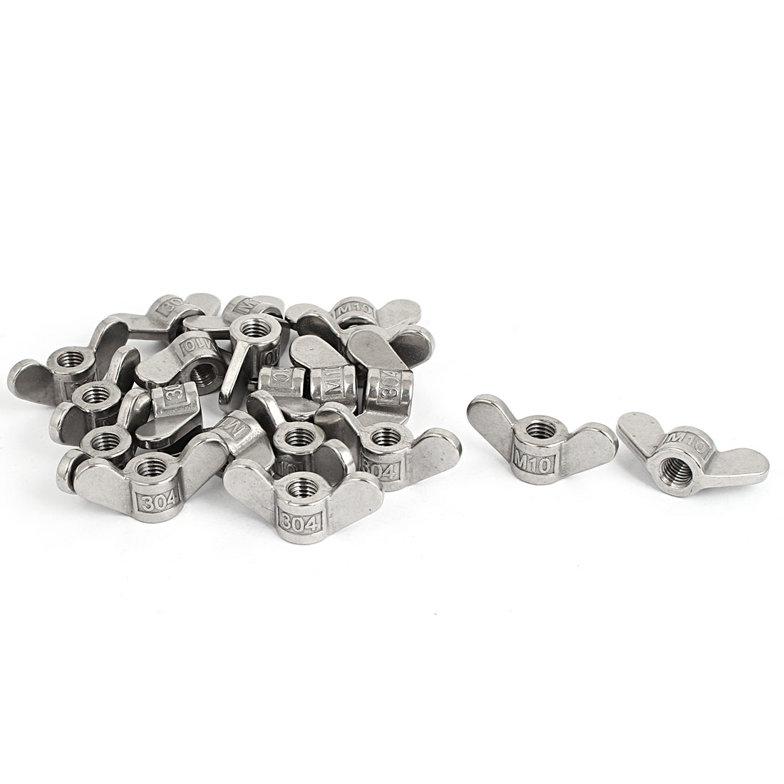 M10 304 Stainless Steel Butterfly Wing Nut Screw Silver Tone 20 Pcs