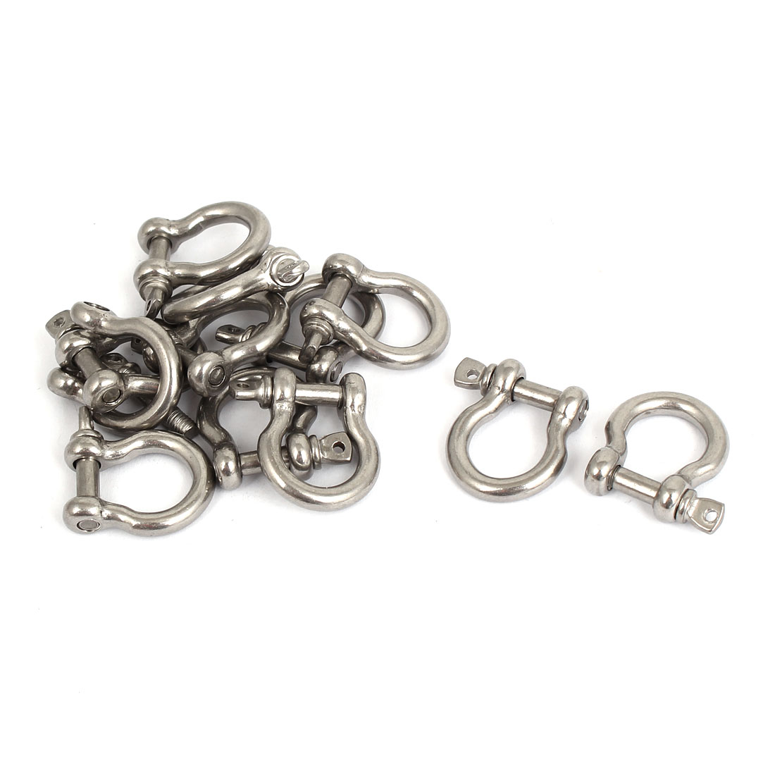 M4 Stainless Steel D Ring Bow Shackle U Lock Chain Buckle 12 Pcs