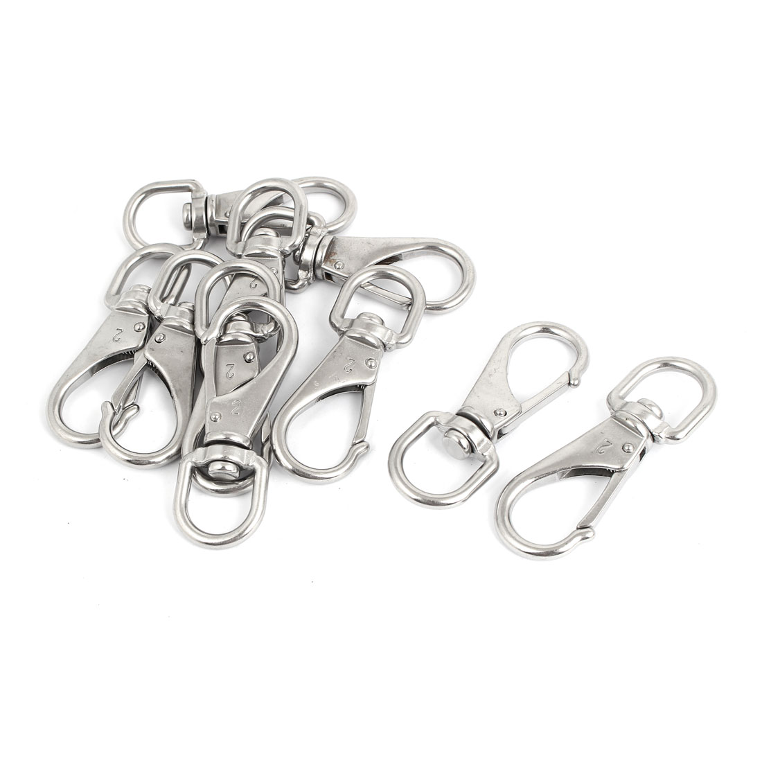 6mm Thickness Stainless Steel Swivel Eye Lobster Snap Clasp Hook 10 Pcs