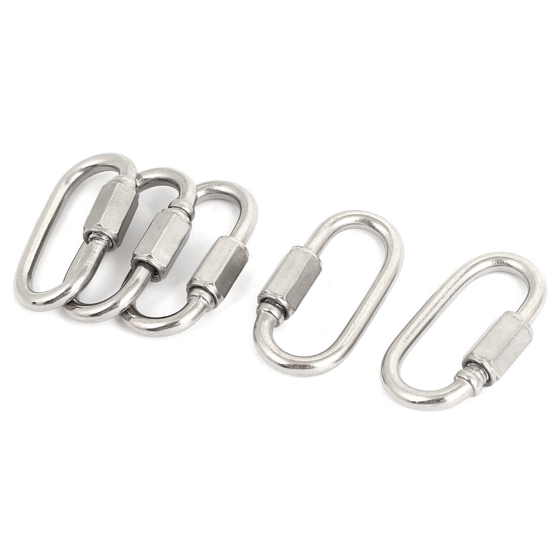 3.5mm Thickness Stainless Steel Quick Links Carabiners 5 Pcs