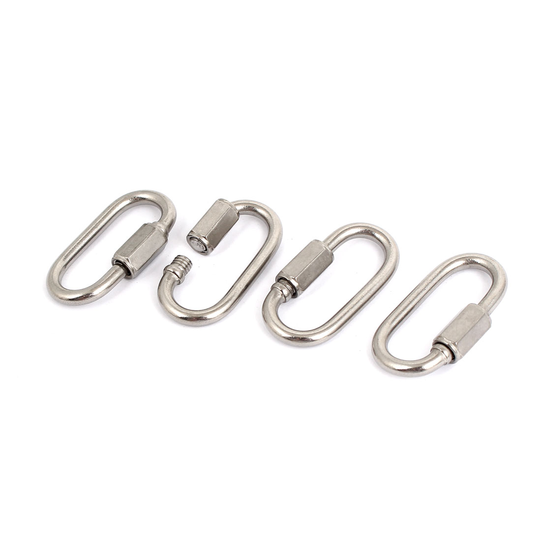 3.5mm Thickness Stainless Steel Quick Oval Screwlock Link Lock Carabiner 4 Pcs