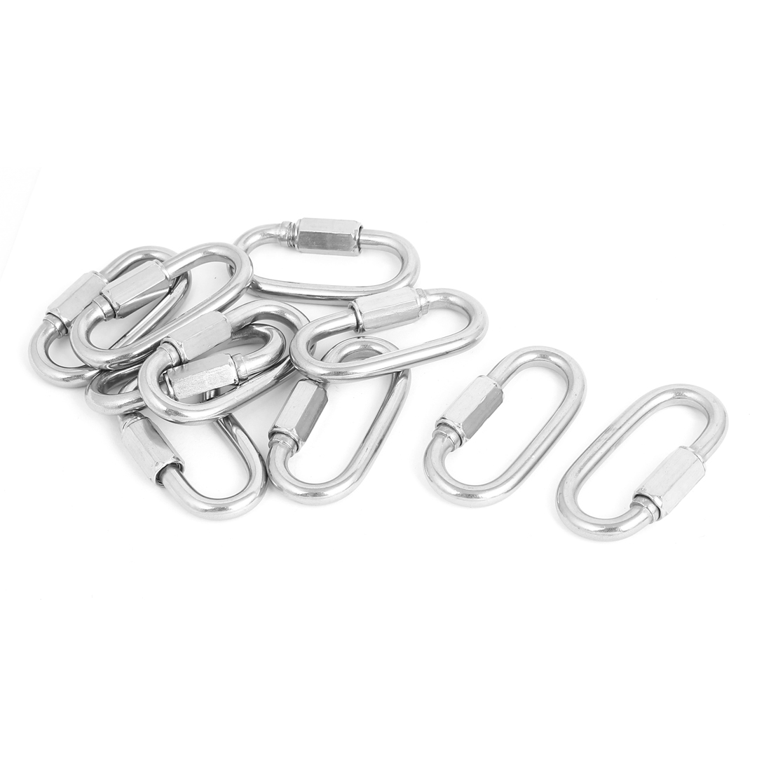 6mm Thickness Stainless Steel Quick Oval Screwlock Link Lock Carabiner 10 Pcs