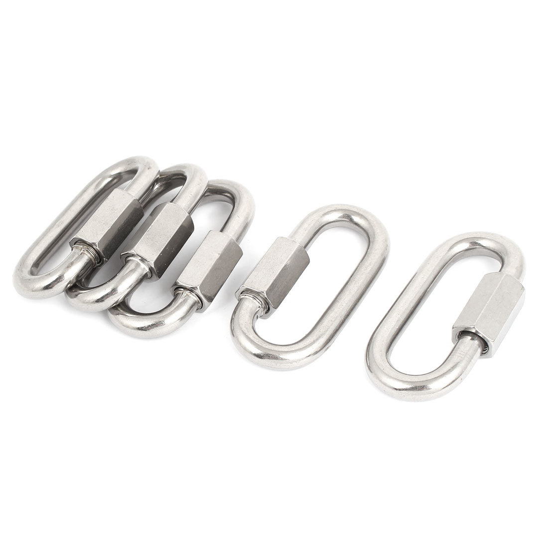 10mm Thickness Stainless Steel Quick Oval Screwlock Link Lock Carabiner 5 Pcs