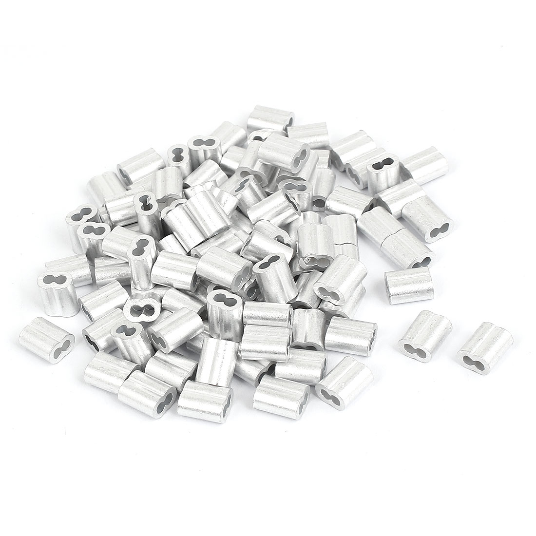 """2mm 5/64"""" Wire Rope Aluminum Sleeves Clip Fittings Cable Crimps 100 Pcs"""