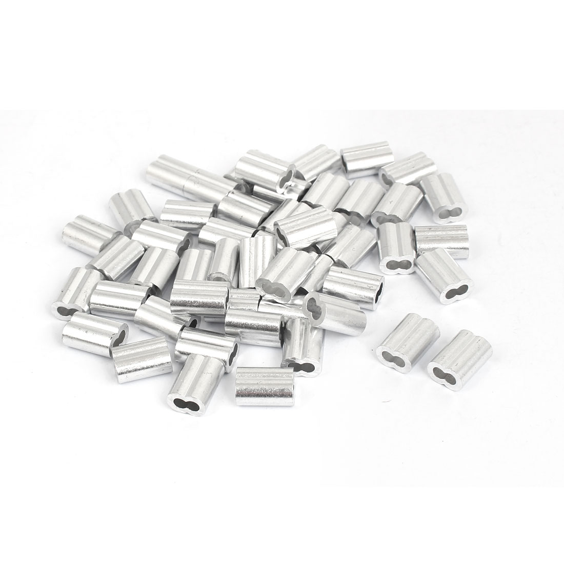 """3mm 1/8"""" Aluminum Sleeves Clip Fittings Loop Sleeve Cable Crimps Wire Rope 50 Pcs"""