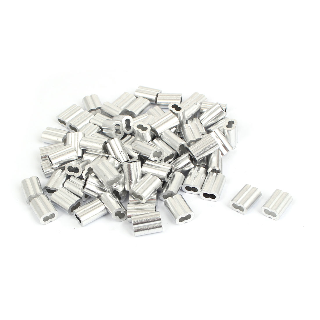 "Aluminum Sleeves Silver Tone 80 Pcs for 1/8"" Wire Rope"