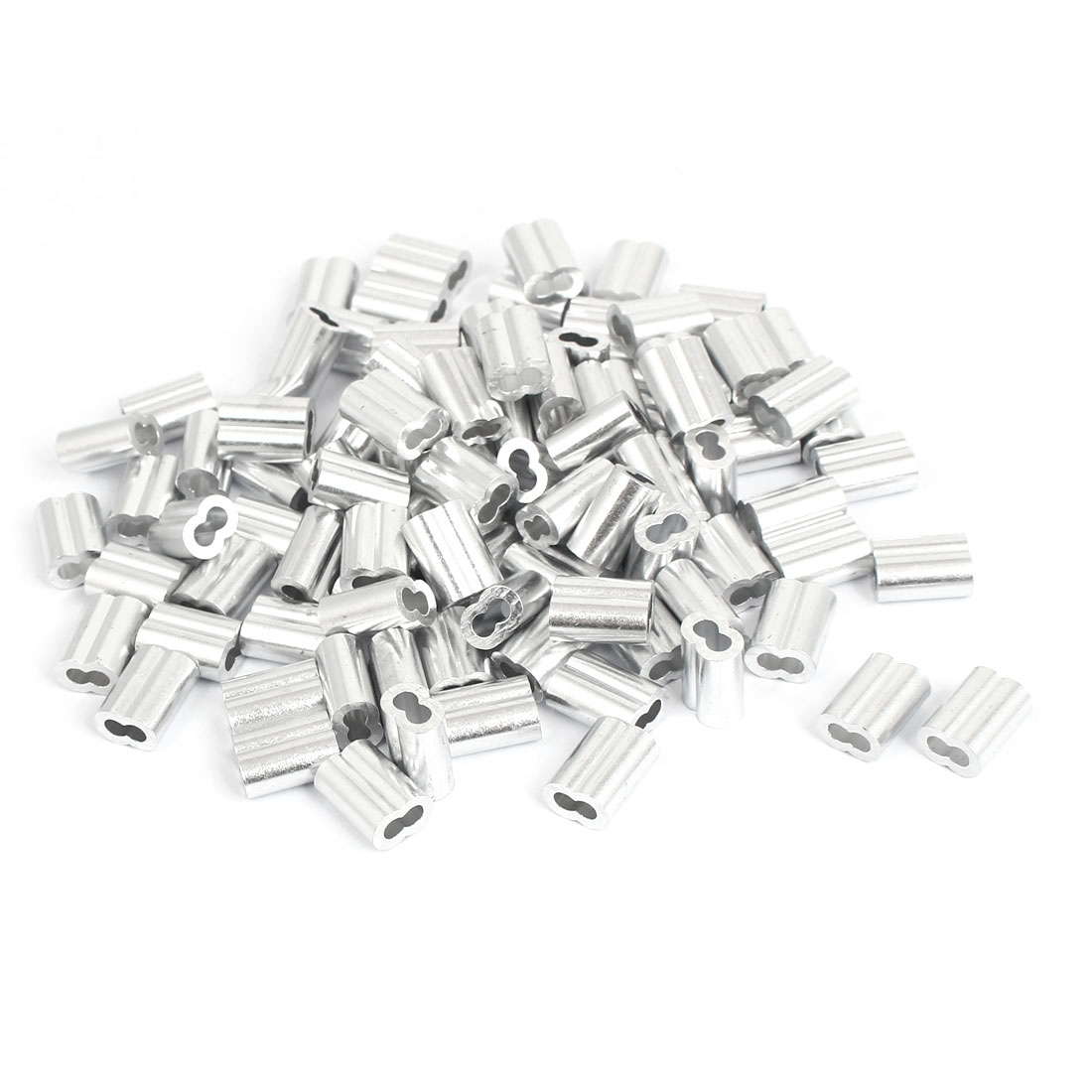 "3mm 1/8"" Wire Rope Aluminum Sleeves Clip Fittings Cable Crimps 100 Pcs"