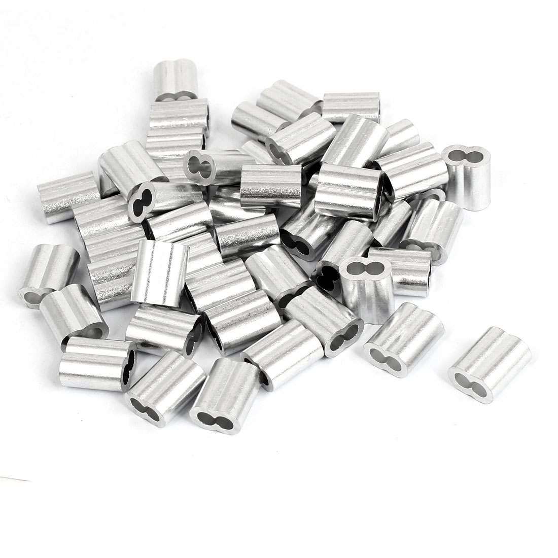 "5/32"" Aluminum Sleeves Silver Tone 50 Pcs for Wire Rope"