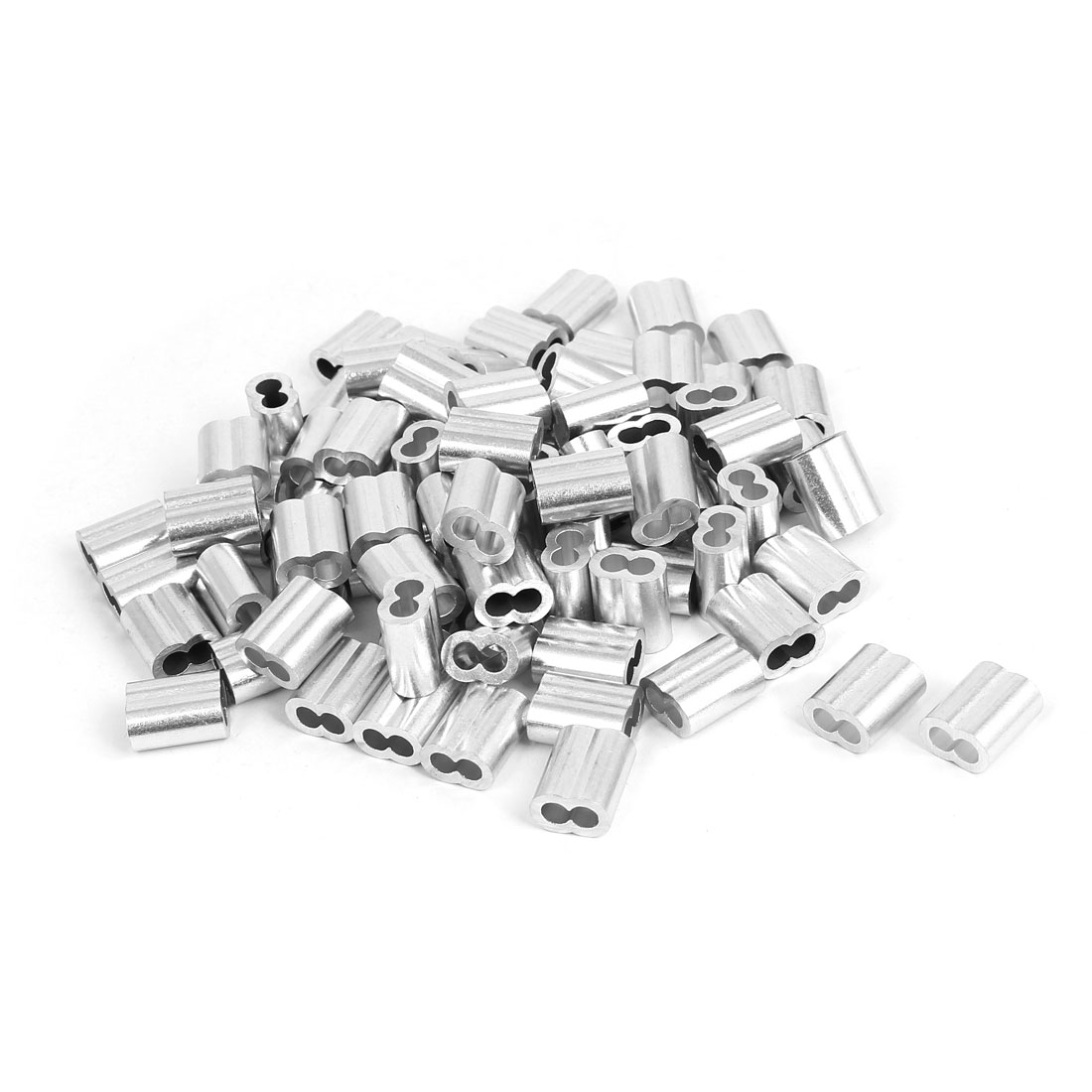 4mm Aluminum Double Hole Clamp Clip Sleeve 100 Pcs for Wire Rope