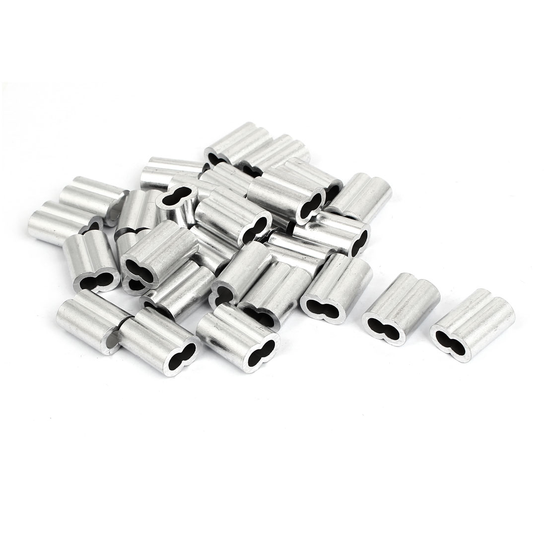 "Double Hole Aluminum Sleeves Silver Tone 30 Pcs for 3/16"" Wire Rope"