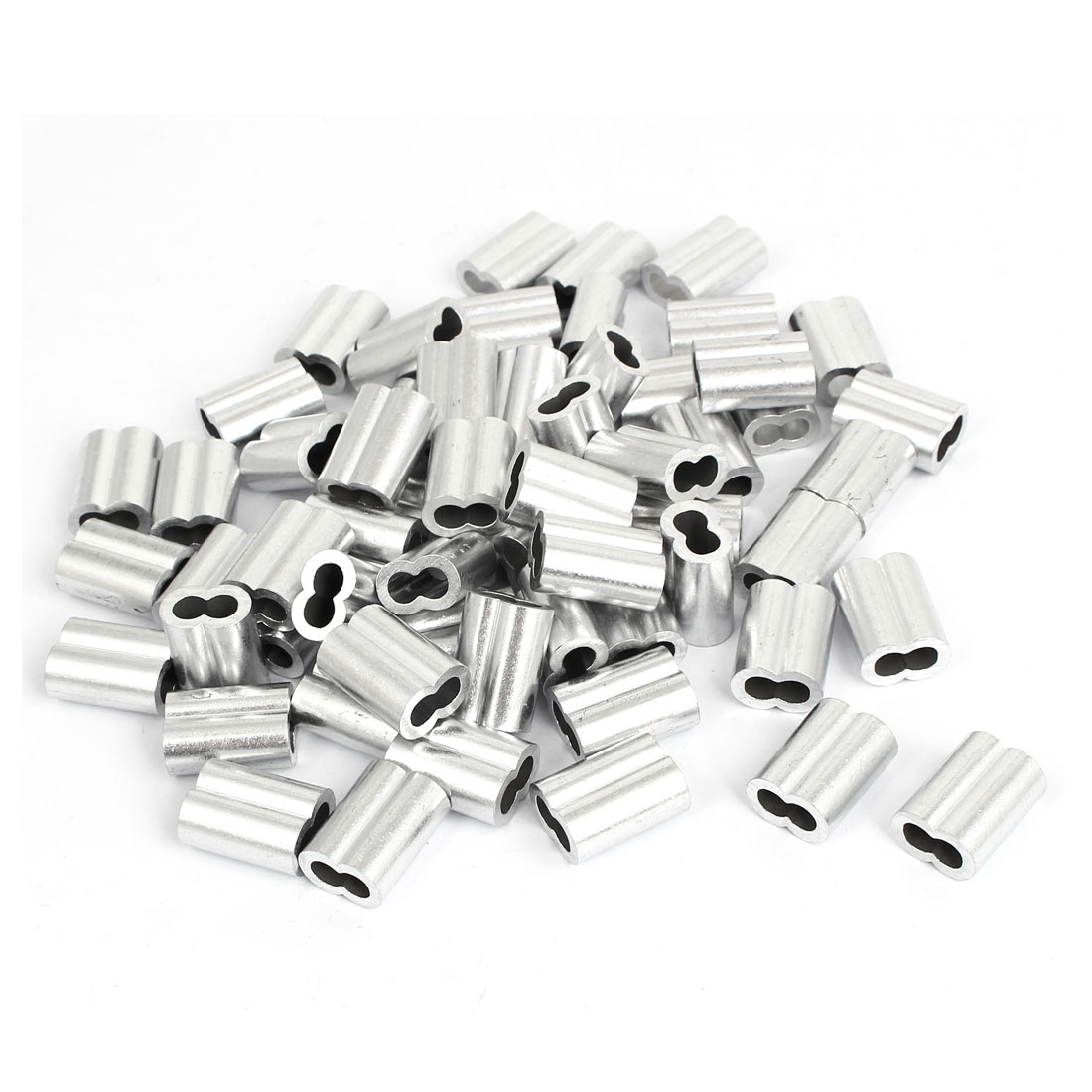 "5mm 3/16"" Aluminum Double Hole Wire Rope Clamp Clip Sleeve 100 Pcs"