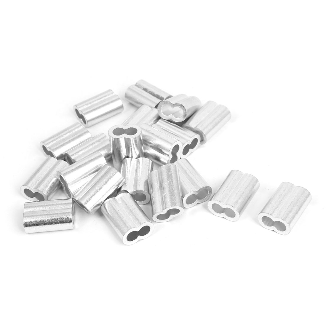 "Double Hole Aluminum Sleeves Silver Tone 20 Pcs for 1/4"" Wire Rope"