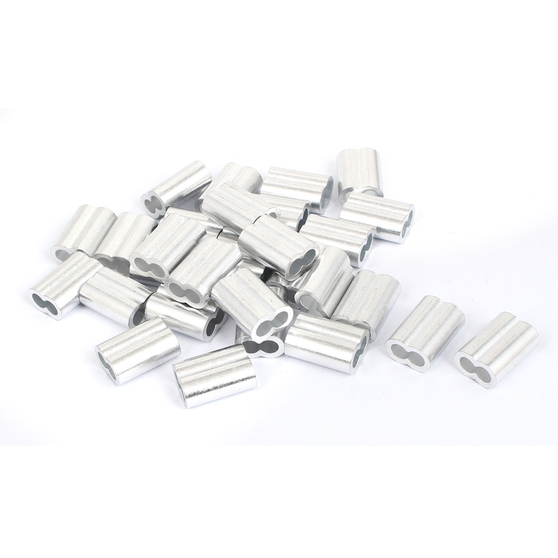 "Double Hole Aluminum Sleeves Silver Tone 30 Pcs for 1/4"" Wire Rope"