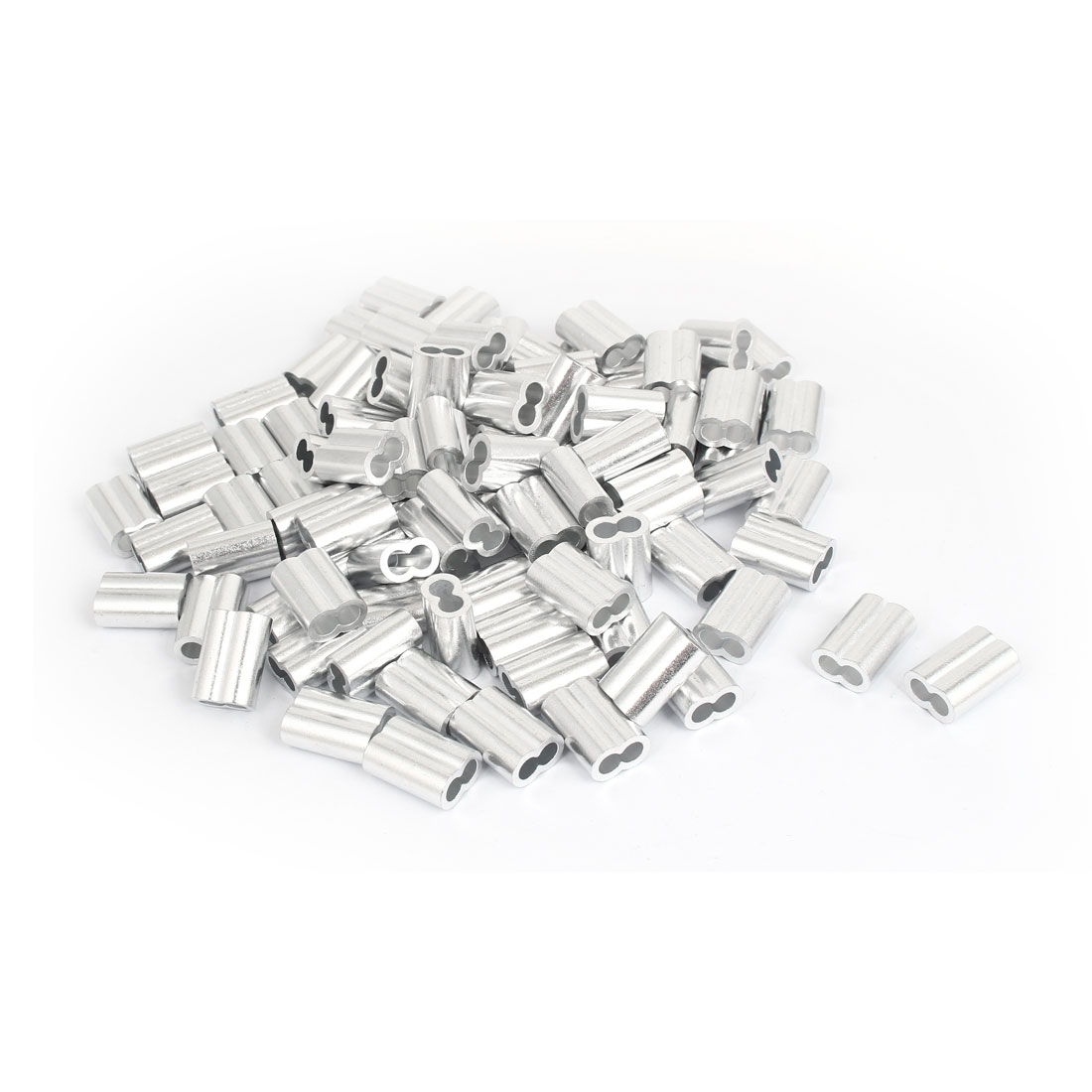 """Double Hole Aluminum Sleeves Silver Tone 100 Pcs for 1/4"""" Wire Rope"""