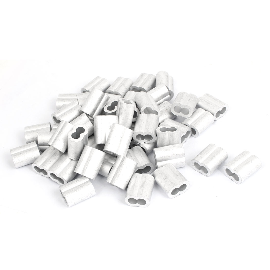 "Double Hole Aluminum Sleeves Silver Tone 50 Pcs for 5/16"" Wire Rope"