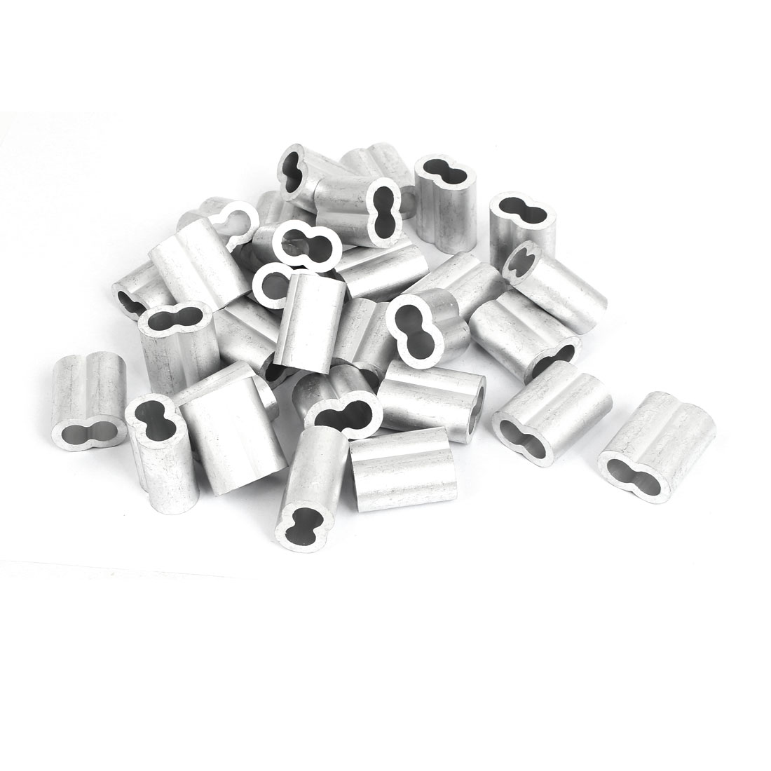 """10mm 3/8"""" Double Hole Aluminum Swage Sleeve Wire Rope Clamp Clip 30 Pcs"""