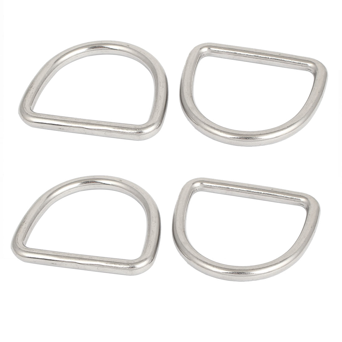 D Ring Hooks D-Shaped Buckles Handbag Belt Buckle Silver Tone 4 Pcs