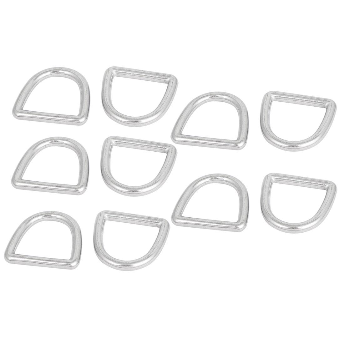 Stainless Steel D Ring Hooks D-Shaped Buckles Bag Handbag Belt Buckle 10 Pcs