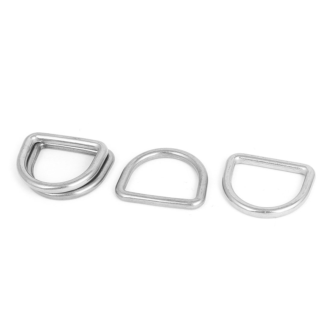 Stainless Steel D-Shaped Hooks D Ring Belt Buckles 4 Pcs for Handbag