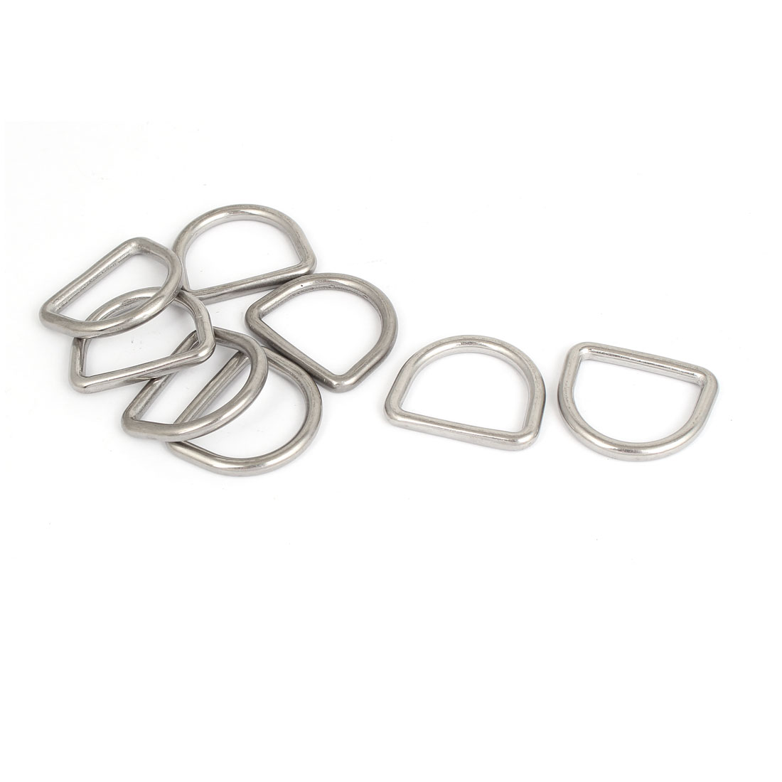 Stainless Steel D-Shaped Hooks D Ring Belt Buckles 5 Pcs for Handbag