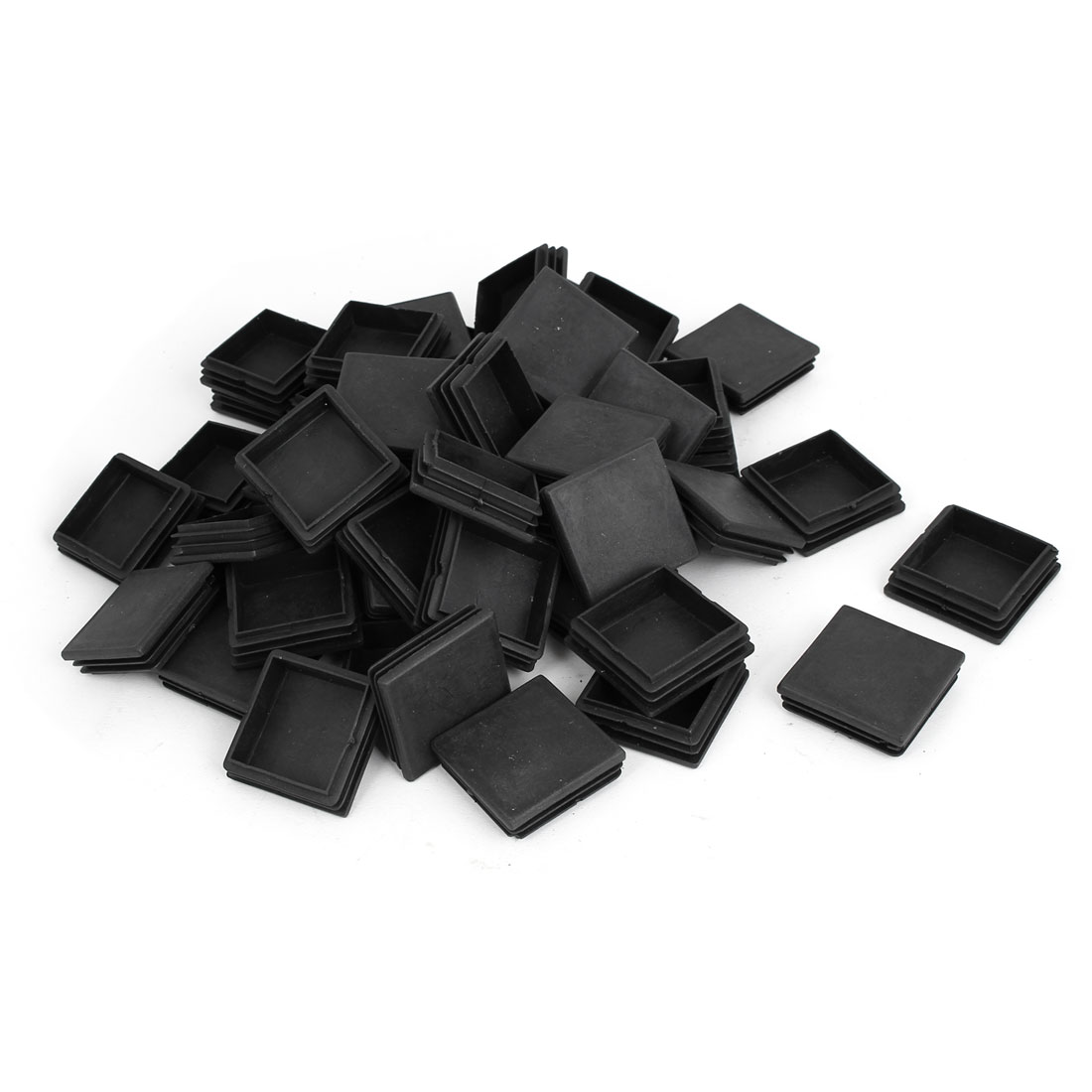 Office Plastic Square Furniture Chair Legs Tube Insert Black 50mm x 50mm 50 Pcs