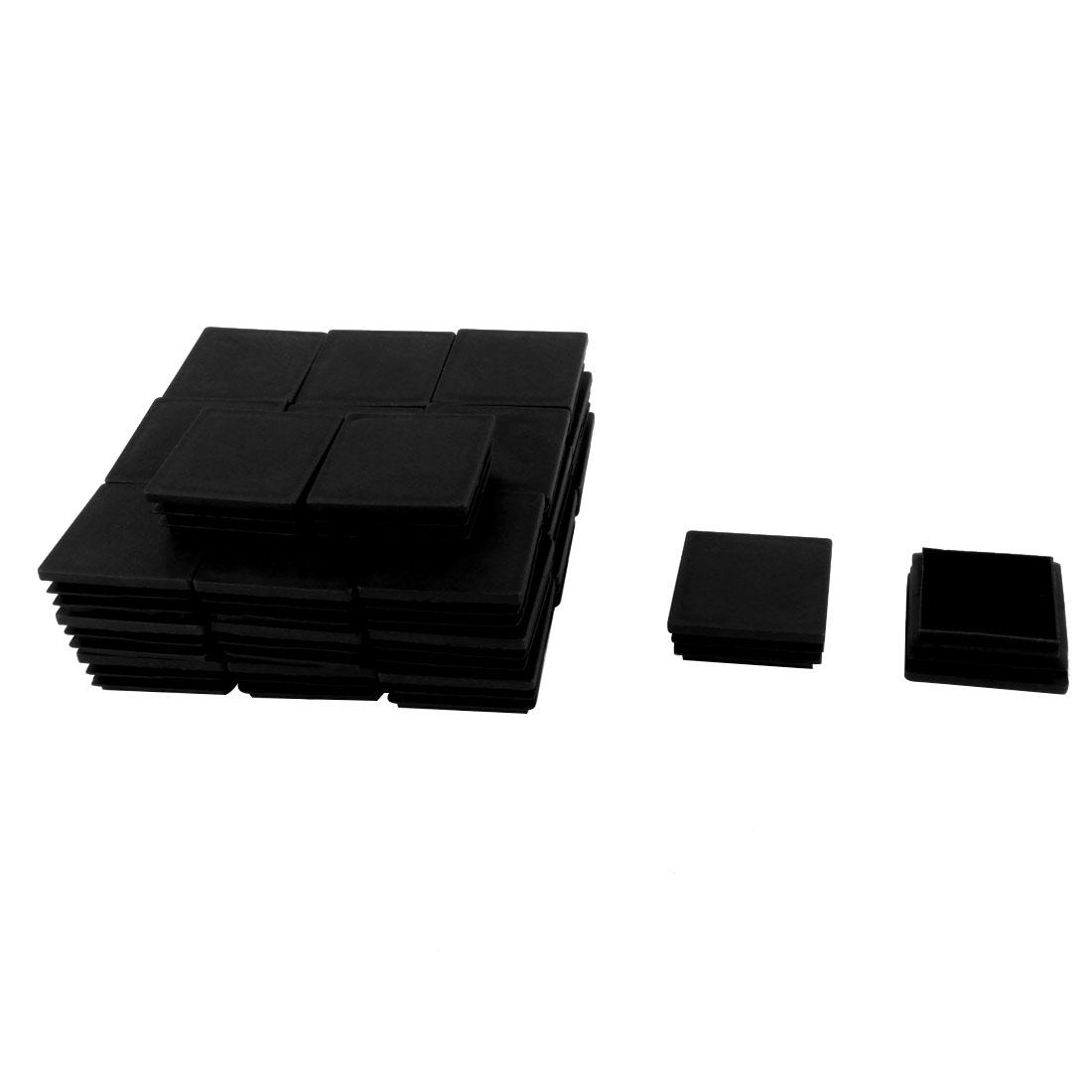 Home Plastic Square Furniture Table End Cap Tube Insert Black 50mm x 50mm 30 Pcs