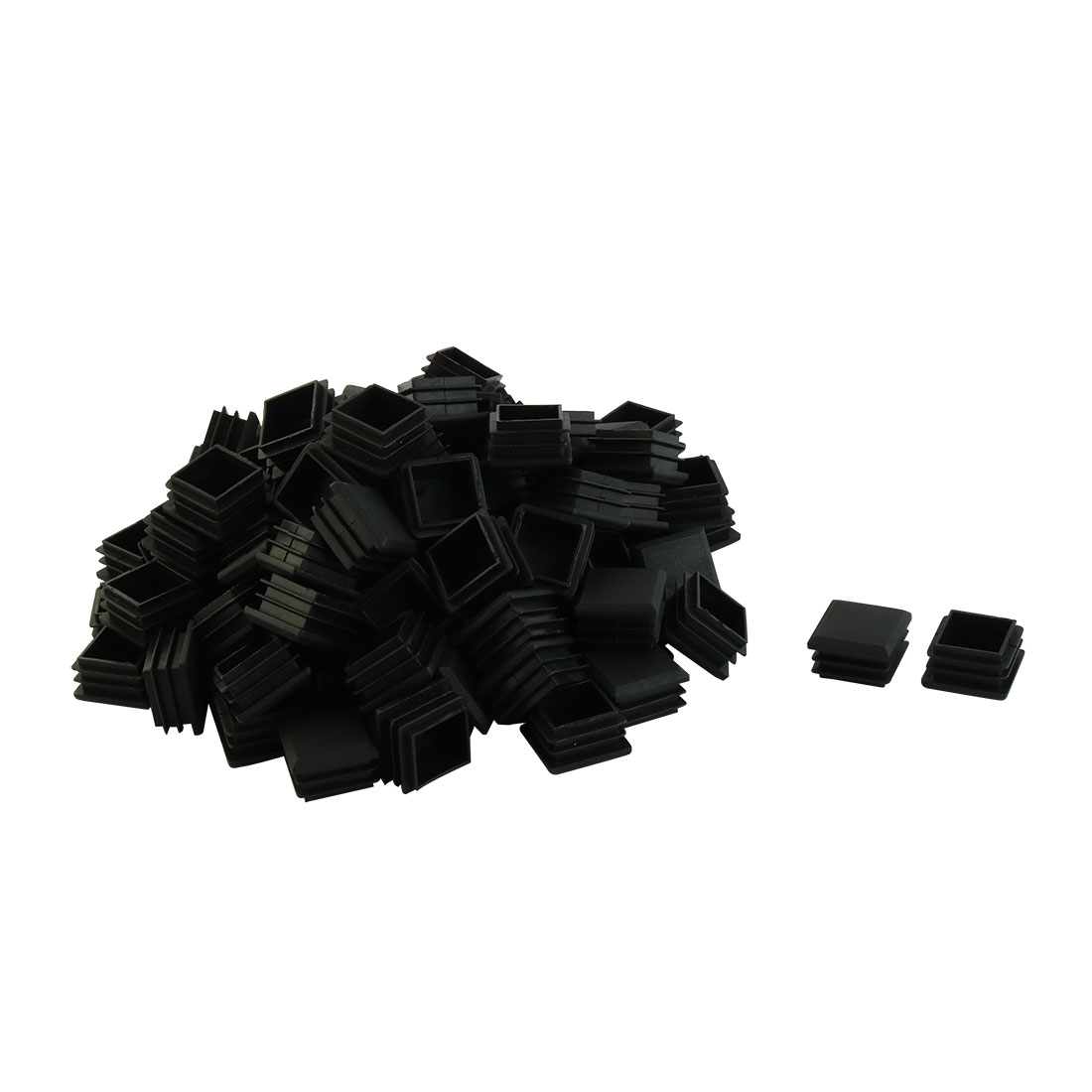 Home Plastic Square Table Feet End Cap Tube Insert Black 25mm x 25mm 100 Pcs