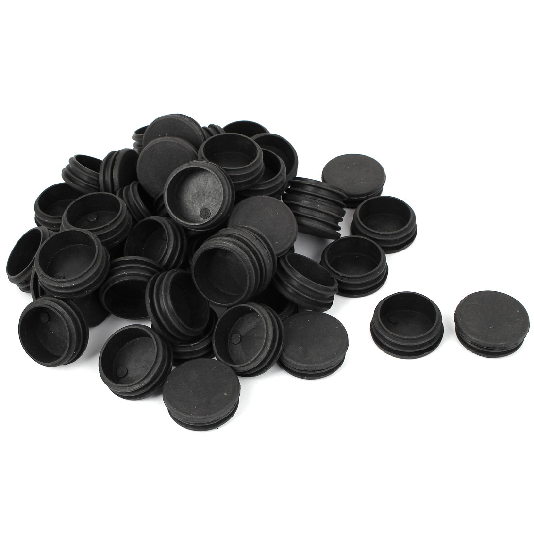 38mm Diameter Plastic Cap Round Ribbed Tube Insert 100 Pcs for Chair Table Legs
