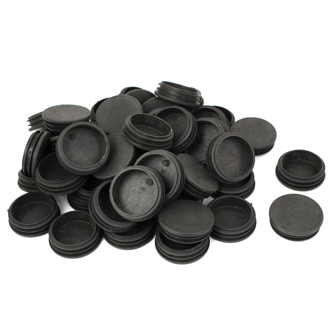 50mm Diameter Plastic Cap Chair Table Legs Round Ribbed Tube Insert 100 Pcs