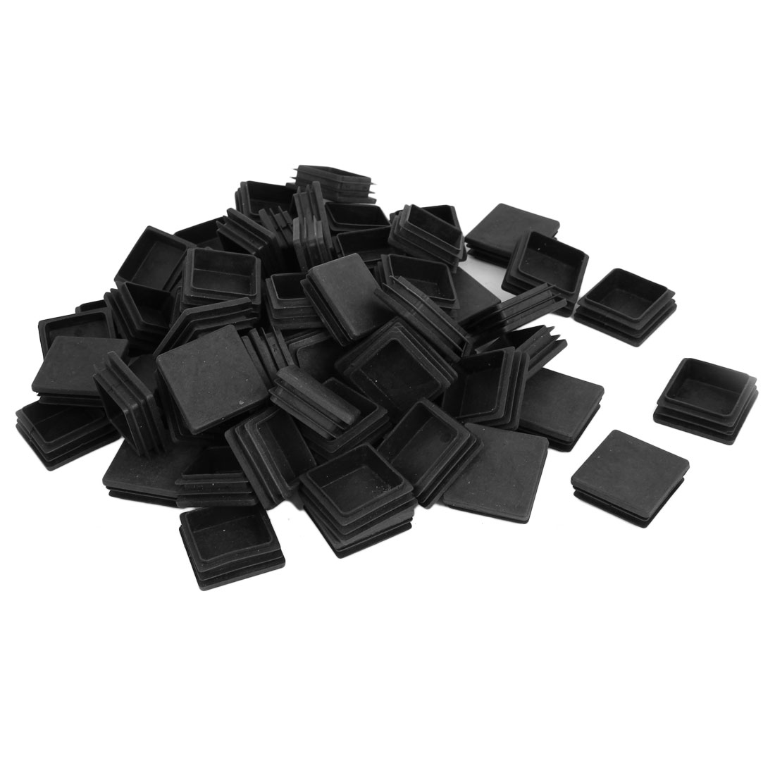 40mm x 40mm Plastic Square Blanking End Caps Tubing Tube Inserts 100 Pcs