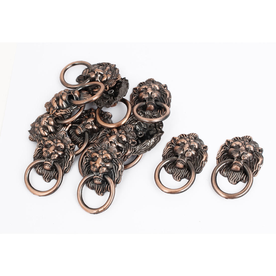 Vintage Style Furniture Door Cabinet Dresser Drawer Lion Head Ring Pull Handle Knob 12 Pcs