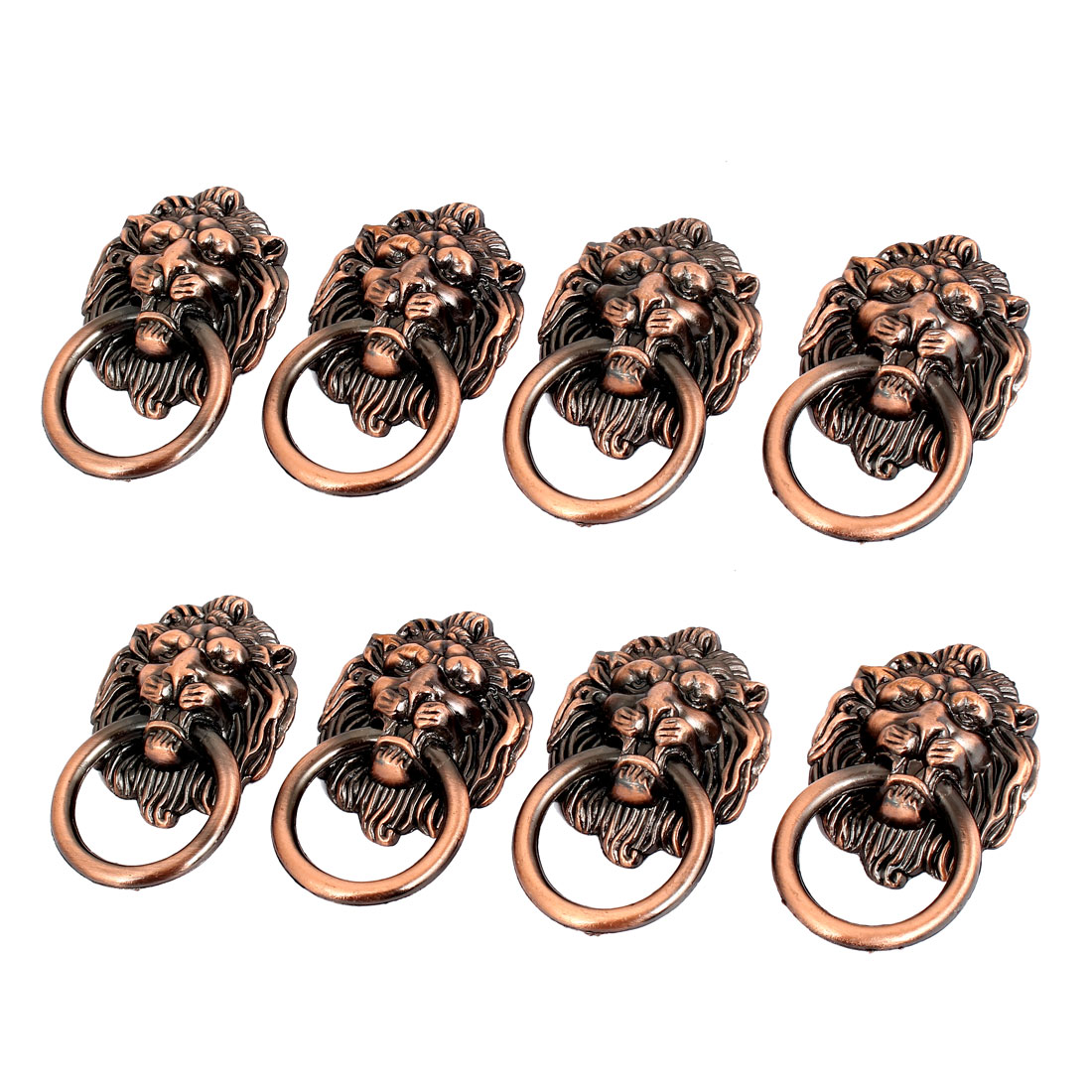 Cupboard Cabinet Wardrobe Drawer Lion Head Ring Pulls Handle 8 Pcs