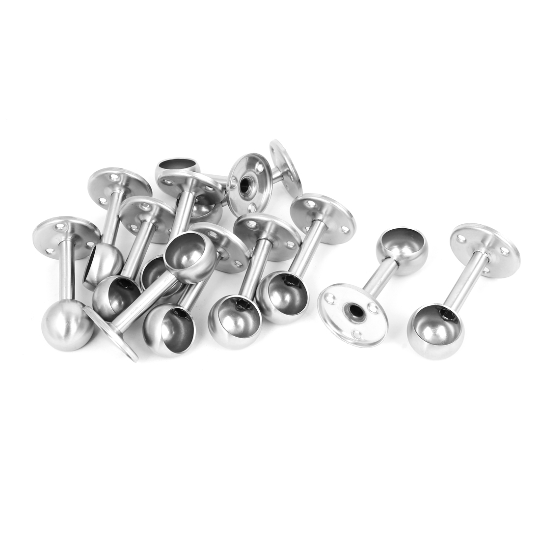 25mm Stainless Steel Wardrobe Rod Rail End Clothes Lever Support Bracket 12 Pcs