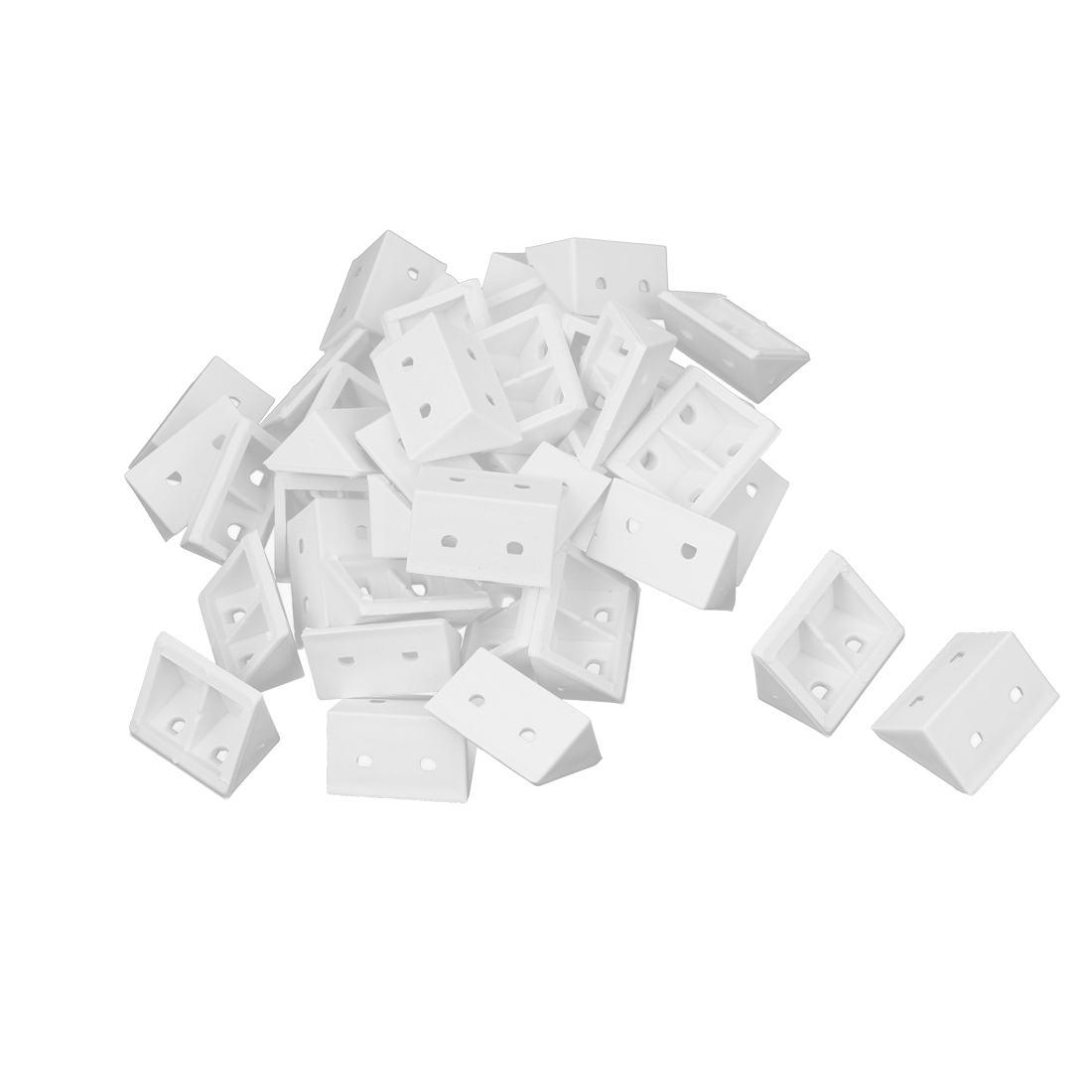 Plastic Shelf Door Cabinet Right Angle Corner Brace Bracket White 40 Pcs