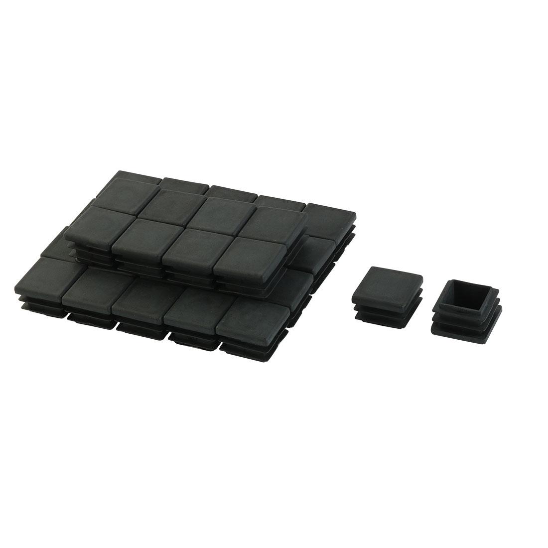 20mm x 20mm Plastic Square End Caps Tubing Tube Inserts Black 30 Pcs