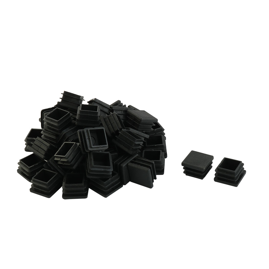 20mm x 20mm Plastic Square Blanking End Caps Tubing Tube Inserts 50 Pcs
