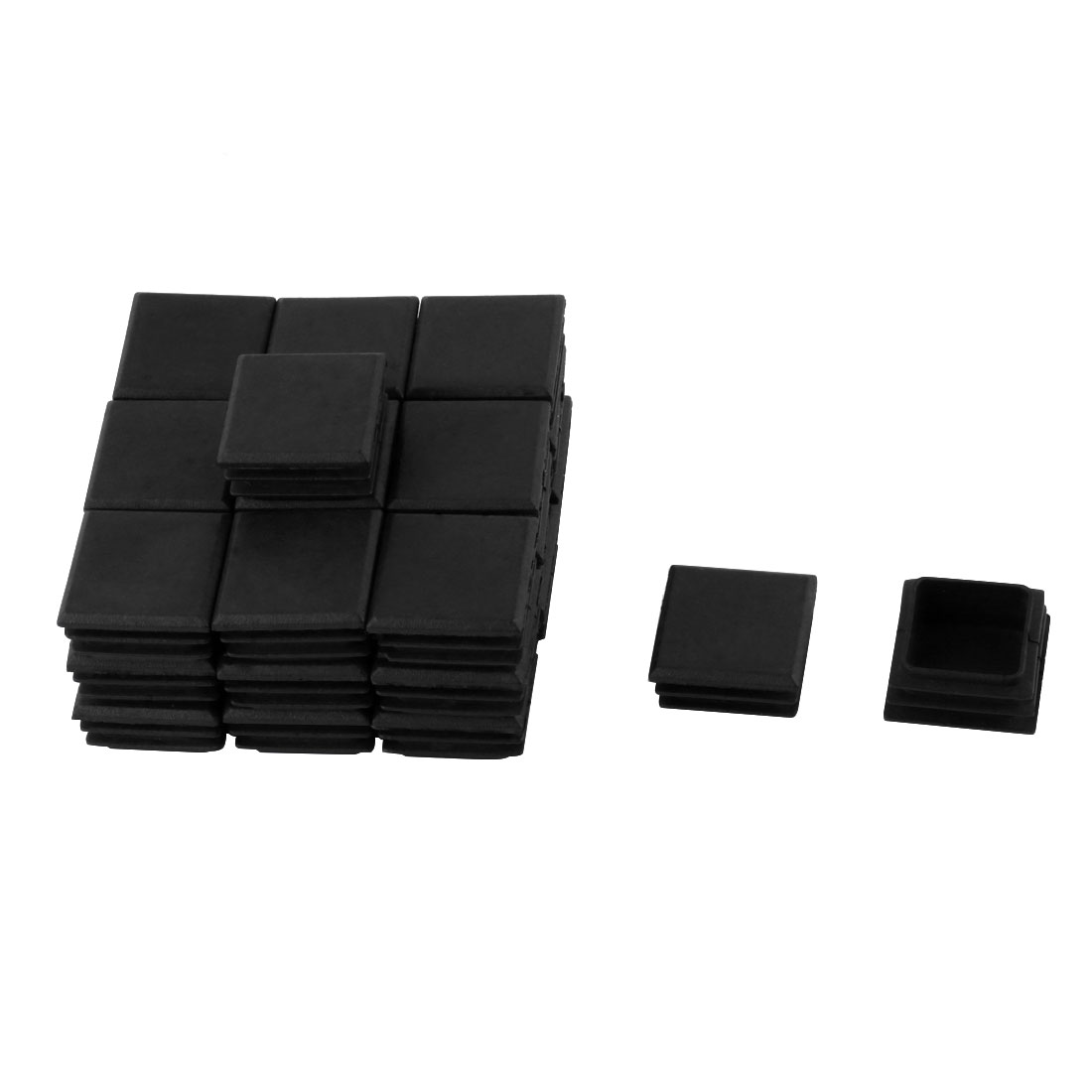 Home Plastic Square Furniture Chair Legs Tubing End Cap Black 30mm x 30mm 30 Pcs