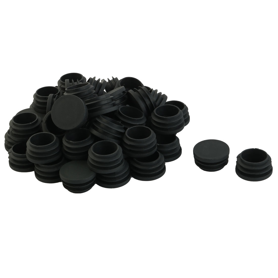 Family Plastic Chair Legs Cap Round Tube Insert Black 31mm Diameter 50 Pcs